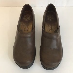 Dr Scholl's Brown Leather Clogs